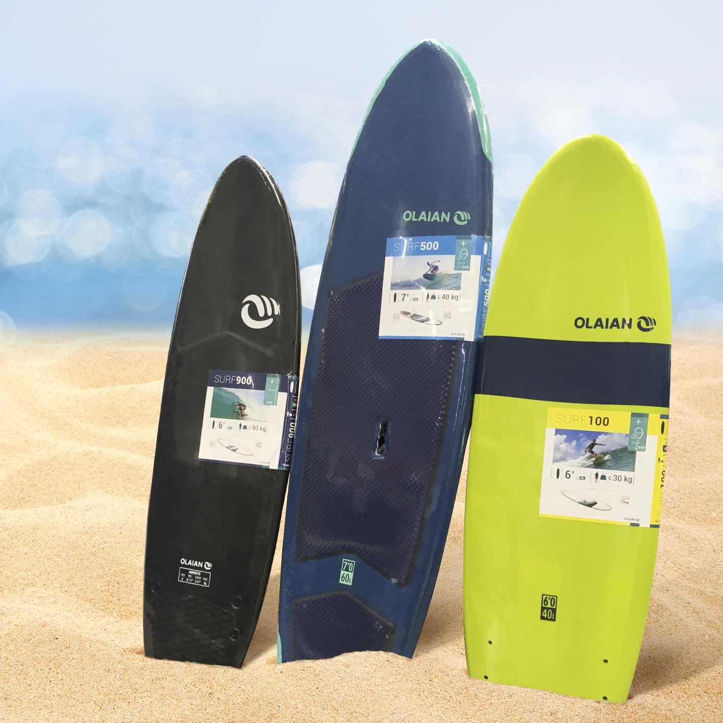 Etiquette packaging surf Olaian